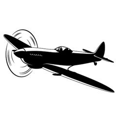 Silhouette of the old fighter airplane vector