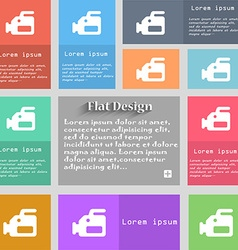 Video camera icon sign set of multicolored buttons vector