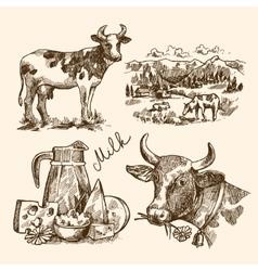 sketch milk product vector image