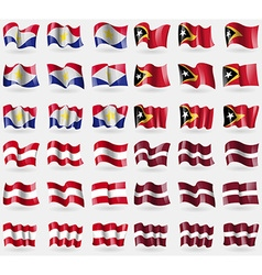 Saba east timor austria latvia set of 36 flags of vector