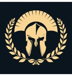 Gladiator silhouette with laurel wreath vector image