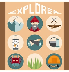 Flat design icons of explorer and elements of hike vector