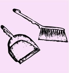 dustpan sweeping brush vector image