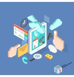 Flat 3d isometric creative tablet mobile services vector
