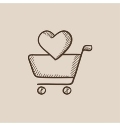 Shopping cart with heart sketch icon vector