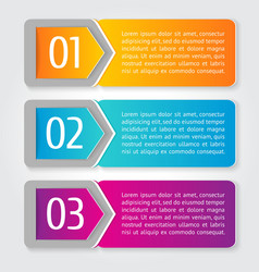 One two three progress labels with arrows vector
