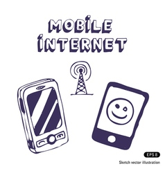 Mobile Internet icon tools vector image