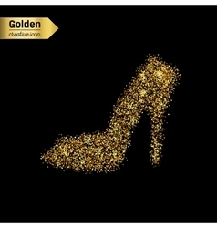 Gold glitter icon of right shoe isolated on vector image