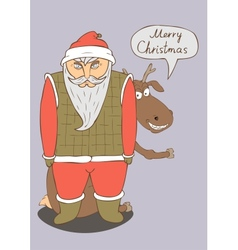 A christmas card with a picture of santa vector