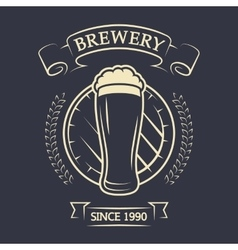 A glass of beer and barrel vector image vector image