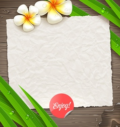 Blank vintage paper with tropical flowers vector