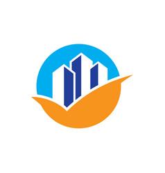 circle arrow skyscraper sign business finance vector image vector image