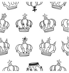 collection crown hand draw pattern vector image vector image