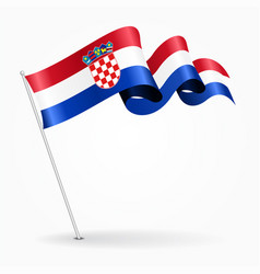 croatian pin wavy flag vector image vector image