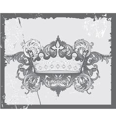 Crown with baroque floral vector