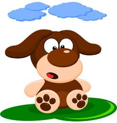 Cute little brown dog cartoon vector image