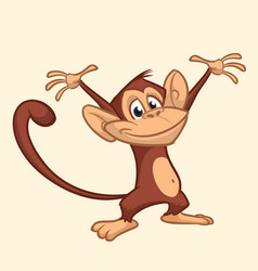 cute monkey cartoon icon vector image vector image