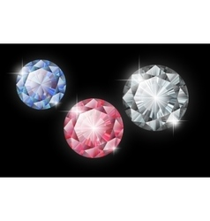 Diamonds ruby sapphire and diamond on a vector