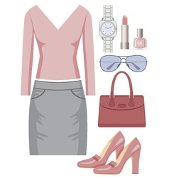 Fashion set with a skirt and a sweater vector image