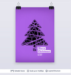Fir tree silhouette carved in paper vector
