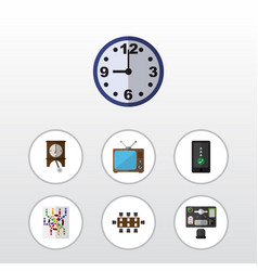 Flat icon lifestyle set of bureau watch vector