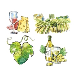 Hand drawn wine vector image vector image