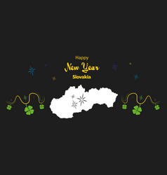 Happy new year theme with map of slovakia vector