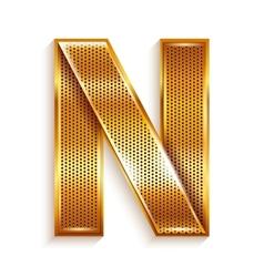Letter metal gold ribbon - N vector image
