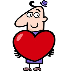 man with valentine cartoon vector image
