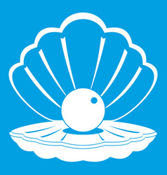 pearl in a sea shell icon white vector image