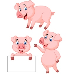 Pig cartoon collection vector image vector image
