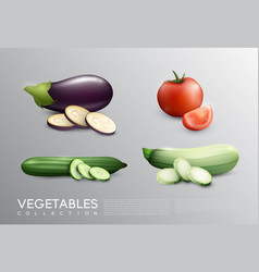 realistic fresh vegetables set vector image vector image