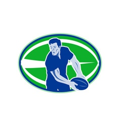 rugby player passing ball vector image