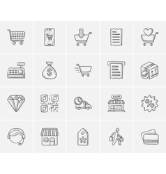 Shopping sketch icon set vector image