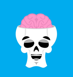 Skull and brain happy emoji skeleton head marry vector
