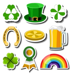 St Patricks day sticker set vector image