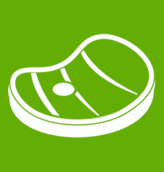 Steak of meat icon green vector