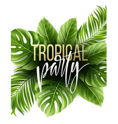 Summer tropical leaf background with exotic palm vector