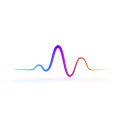 Technology abstract waves logo beat of heart vector