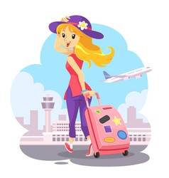 Traveling Girl With Pink Trolley Bag vector image vector image