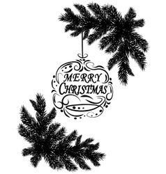 Two black and white realistic fir branches placed vector