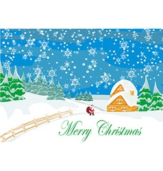 Winter landscape with houses and santa vector