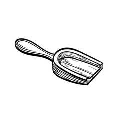 Wooden scoop sketch vector