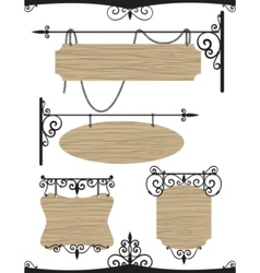 wooden wrought iron vintage signs set vector image vector image