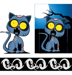 Zom cat with boo border vector