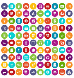 100 marketing icons set color vector