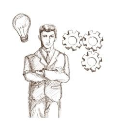 Businessman suit sketch vector image