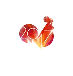 New year design with silhouette of fire rooster vector