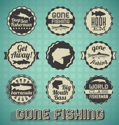 Vintage Gone Fishing Labels vector image
