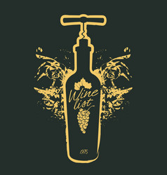 Wine bottle and corkscrew on black vector